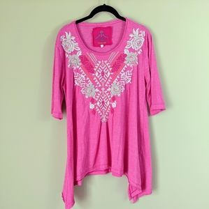Johnny Was Pink Embroidered Tunic Top - Large